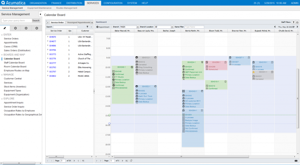 acumatica_uk_service_management_Calendar_Board
